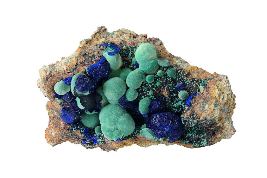 Azurite-malachite brut dans sa matrice