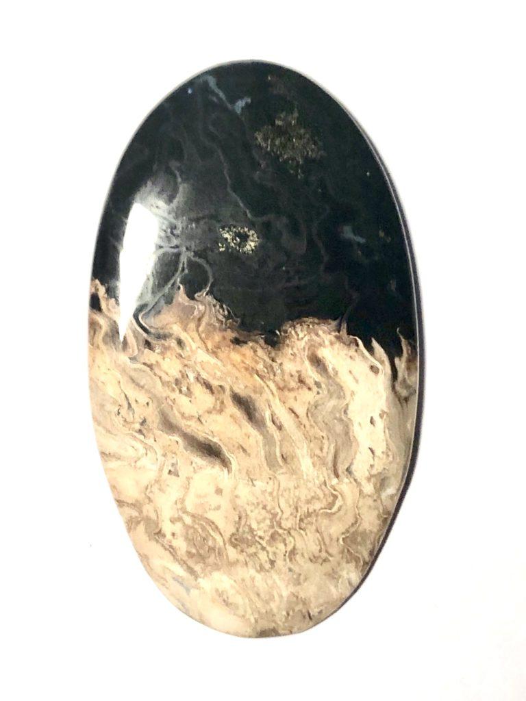 superbe bois fossile cabochon ovale